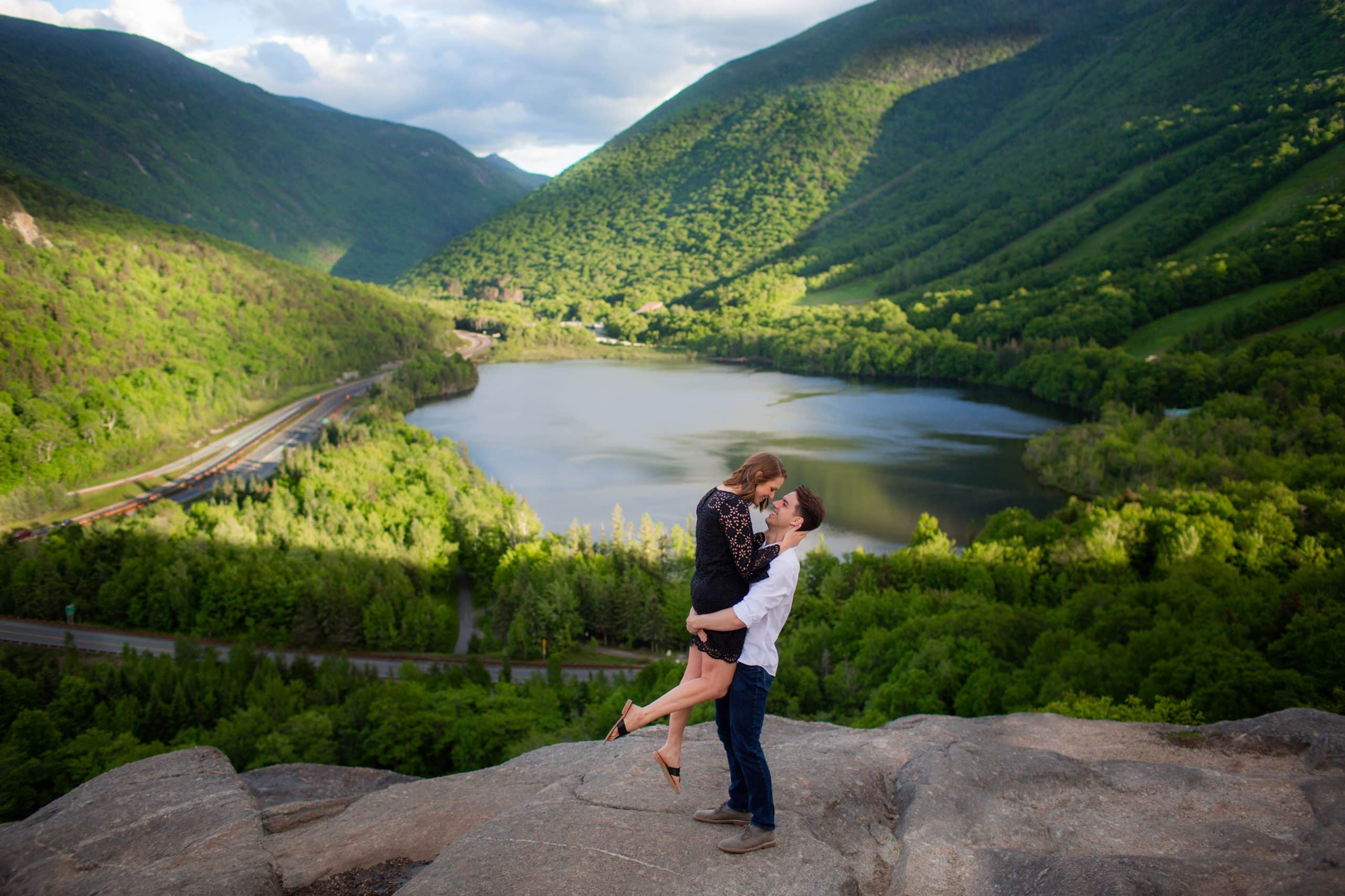 engagement photography couple monutains lake